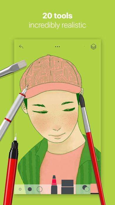 ภาพตัวอย่างแอพ Tayasui Sketches