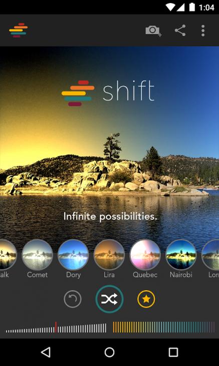 ภาพตัวอย่างแอพ Shift