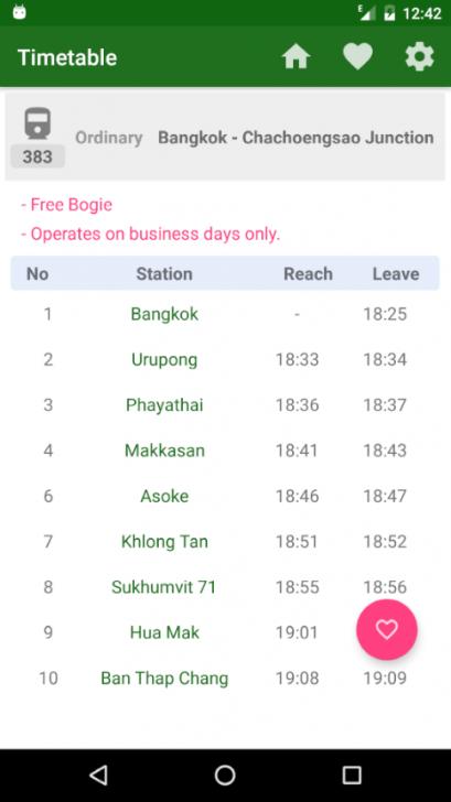 ภาพตัวอย่างแอพ รถไฟไทย