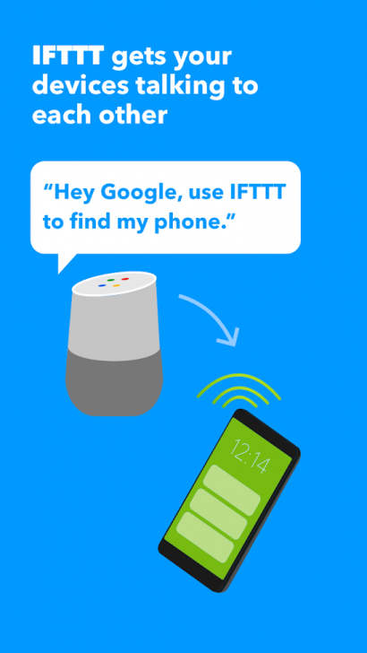 ภาพตัวอย่างแอพ IFTTT