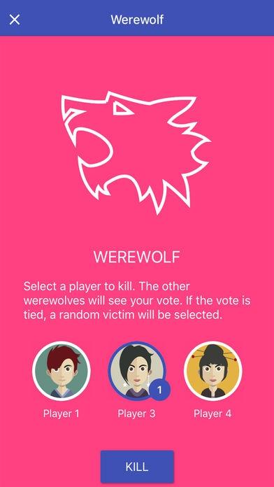 ภาพตัวอย่างแอพ Werewolf (เกมส์แวร์วูฟออนไลน์)